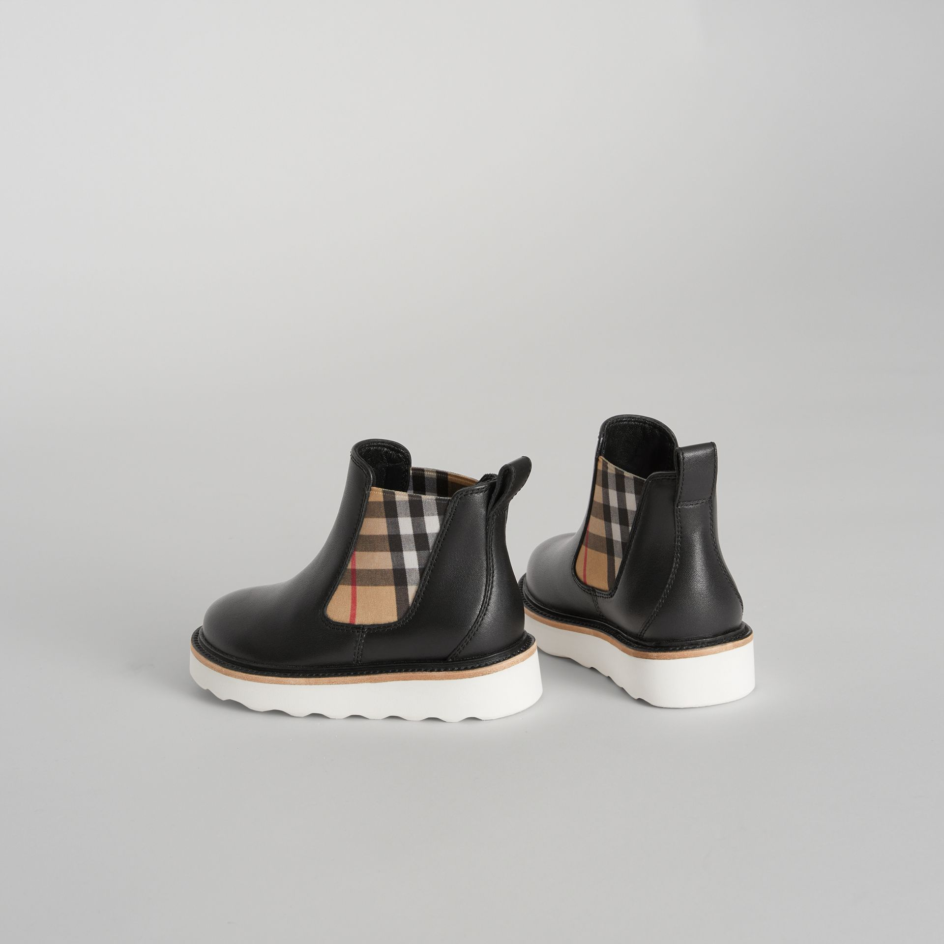 Vintage Check Detail Leather Chelsea Boots in Black | Burberry - gallery image 2