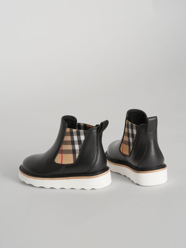 Vintage Check Detail Leather Chelsea Boots in Black | Burberry - cell image 2