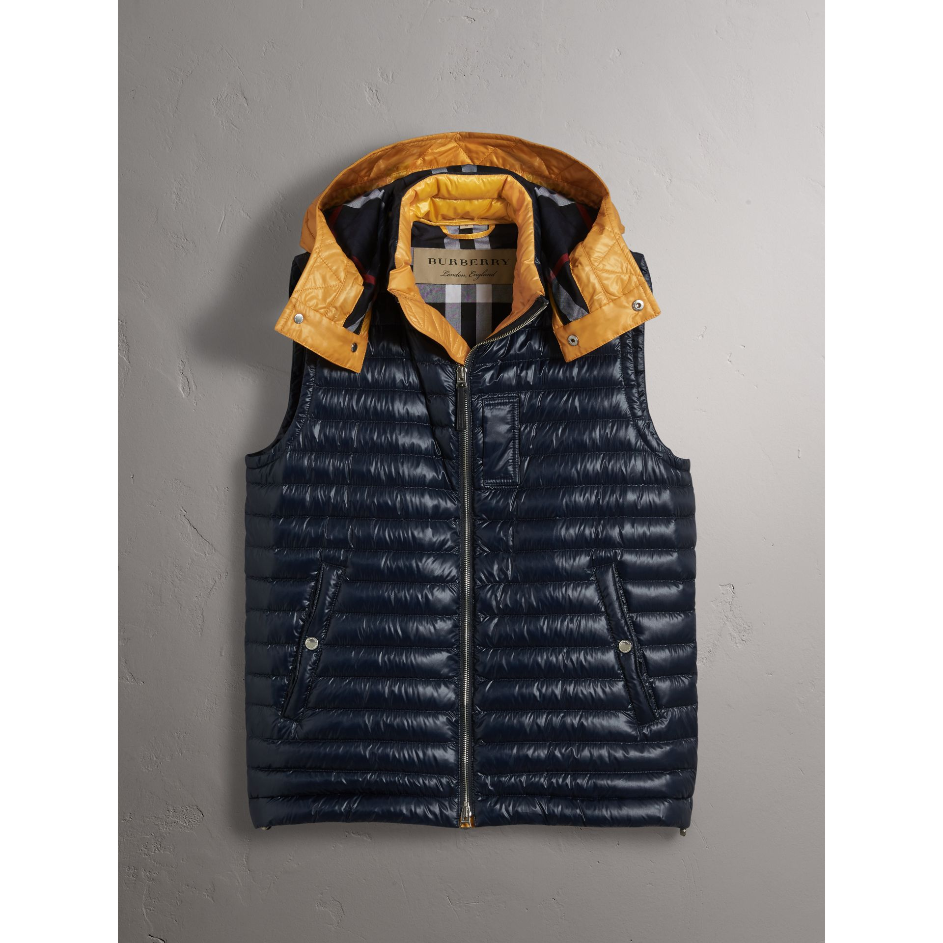 Detachable Hood Packaway Goose-down Gilet in Navy - Men | Burberry - gallery image 4