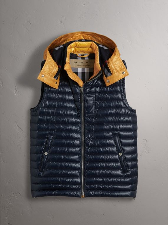 Detachable Hood Packaway Goose-down Gilet in Navy - Men | Burberry - cell image 3