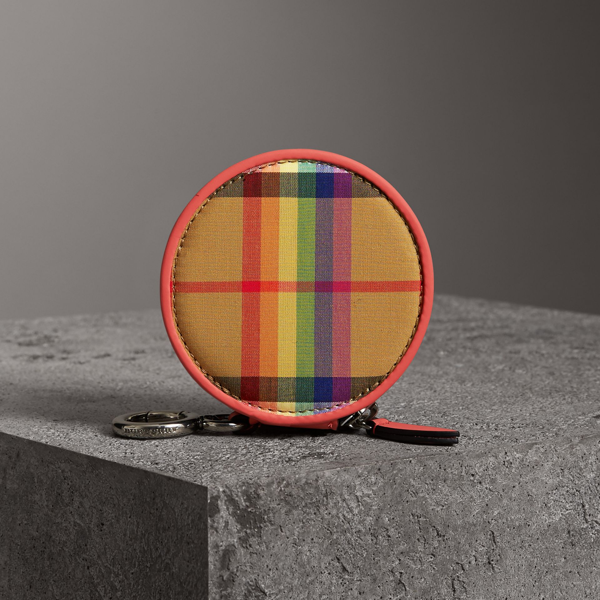 Rainbow Vintage Check Coin Case in Bright Peony | Burberry Australia - gallery image 4
