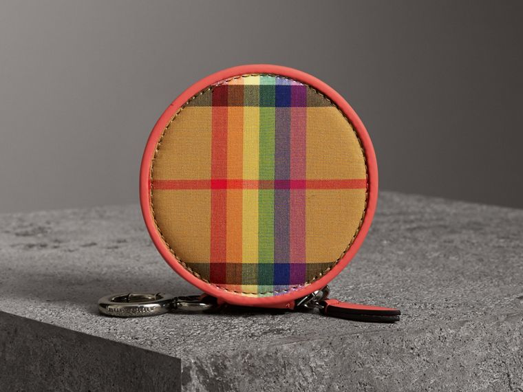 Rainbow Vintage Check Coin Case in Bright Peony | Burberry - cell image 4