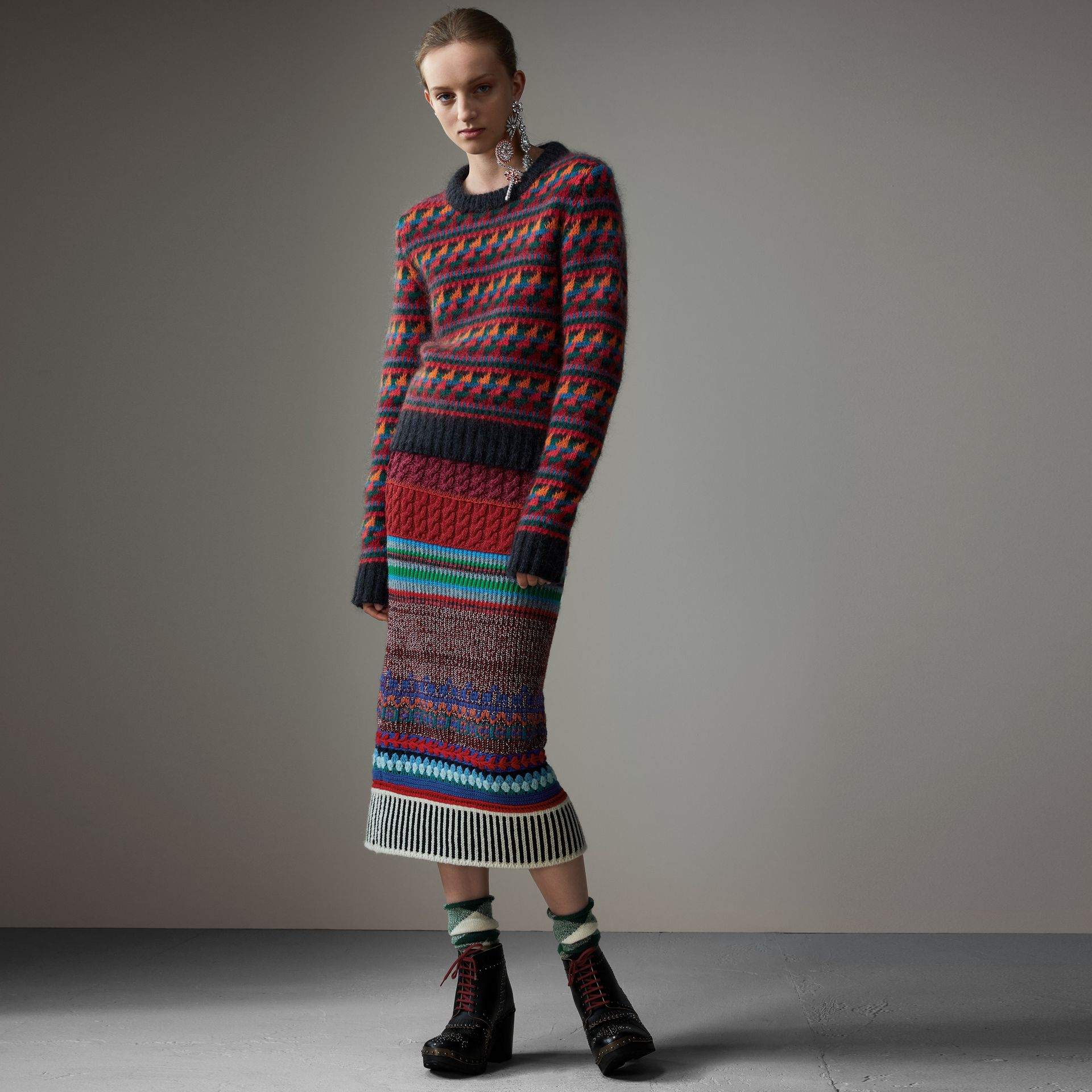 Fair Isle Knitted Wool Mohair Blend Sweater in Multicolour - Women | Burberry Canada - gallery image 0