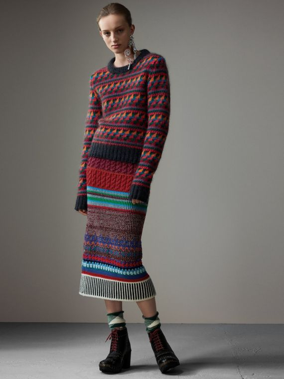 Fair Isle Knitted Wool Mohair Blend Sweater in Multicolour