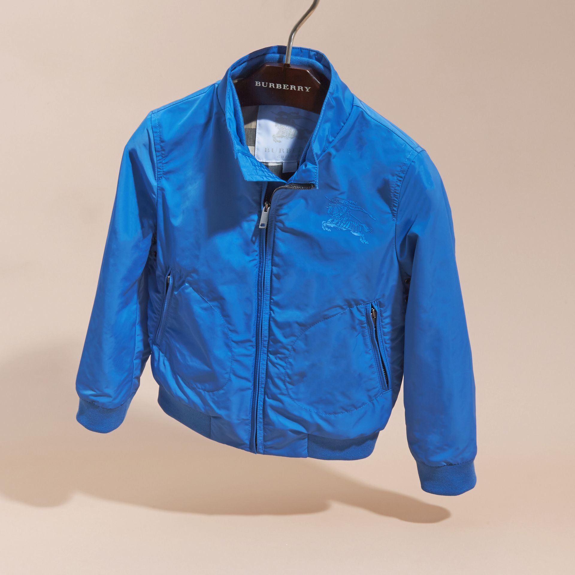 Bright hydrangea blue Packaway Blouson - gallery image 3