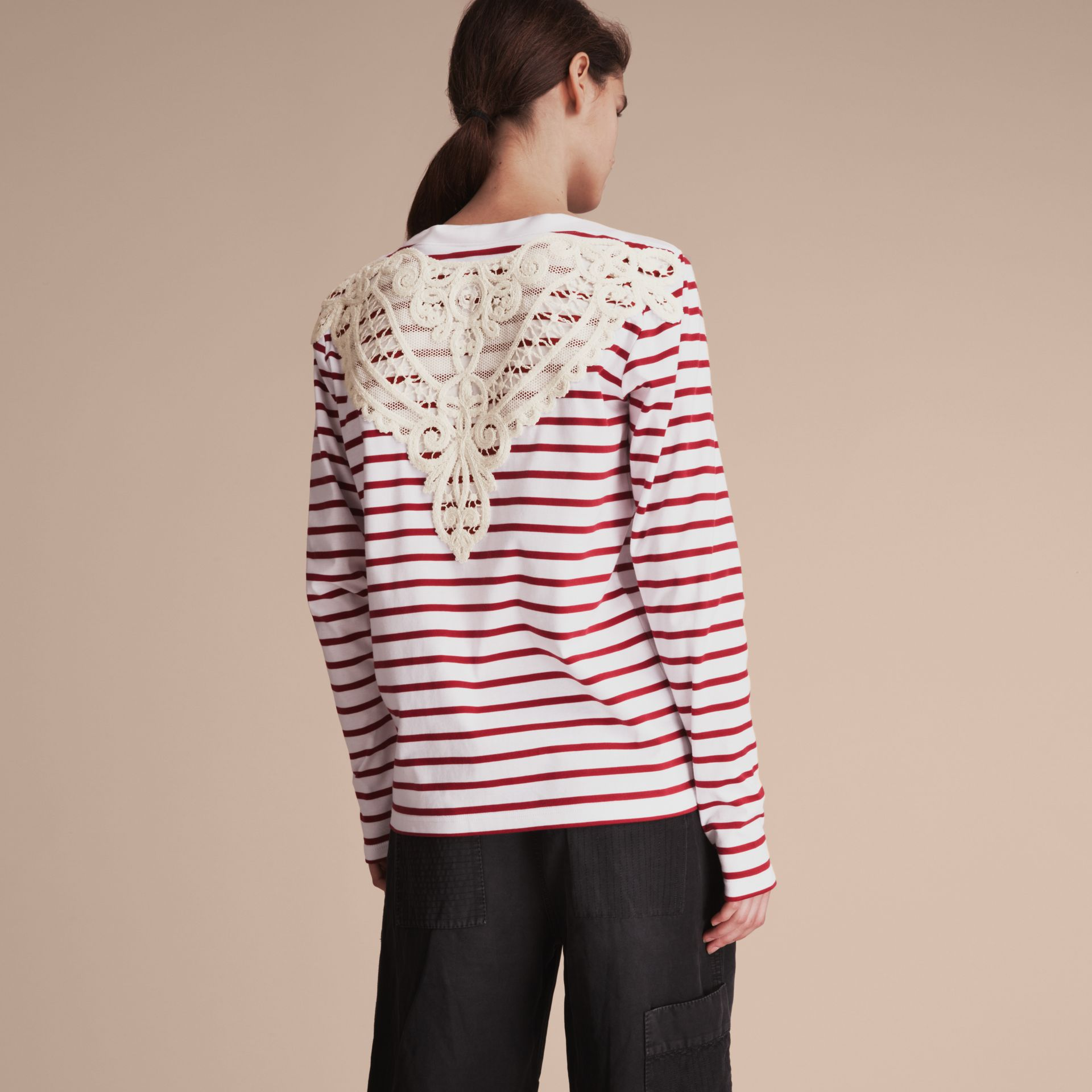 Unisex Breton Stripe Cotton Top with Lace Appliqué - Women | Burberry - gallery image 5