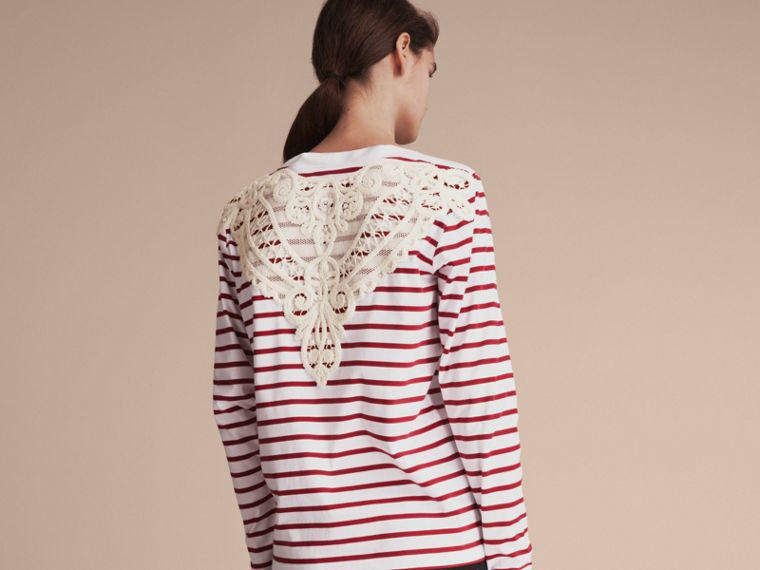 Unisex Breton Stripe Cotton Top with Lace Appliqué in Parade Red - Women | Burberry - cell image 4