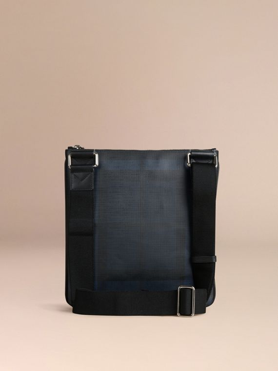 Leather Trim London Check Crossbody Bag in Navy/black - Men | Burberry Canada - cell image 3