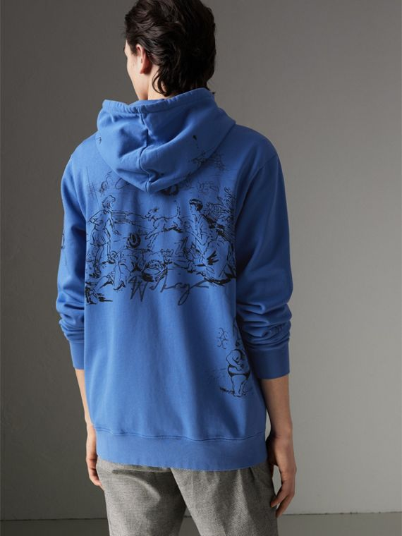 Adventure Print Cotton Jersey Hooded Top in Cornflower Blue - Men | Burberry Australia - cell image 2
