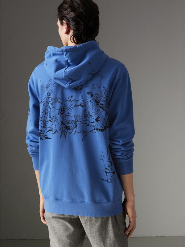 Adventure Print Cotton Jersey Hooded Top in Cornflower Blue - Men | Burberry - cell image 2