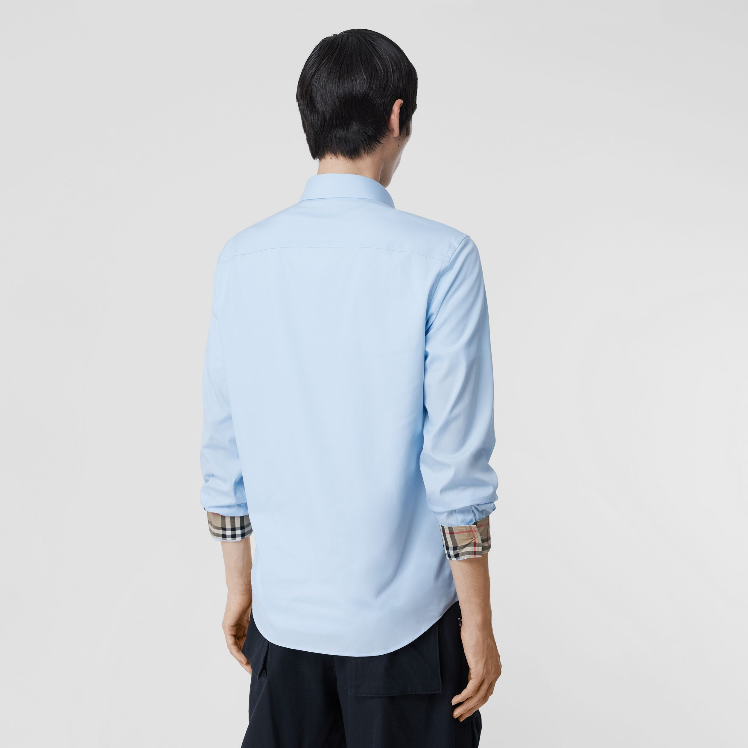 Classic Fit Embroidered EKD Cotton Oxford Shirt in Sky Blue - Men | Burberry - 3