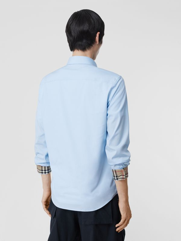 Classic Fit Embroidered EKD Cotton Oxford Shirt in Sky Blue - Men | Burberry - cell image 2