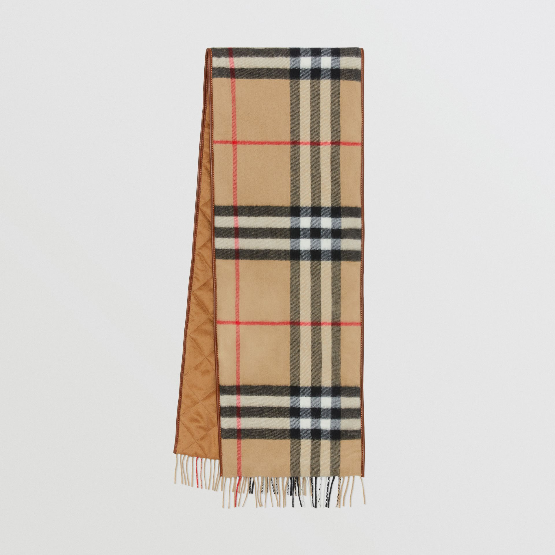 Lambskin Trim Vintage Check Cashmere Scarf in Dark Camel | Burberry - gallery image 0