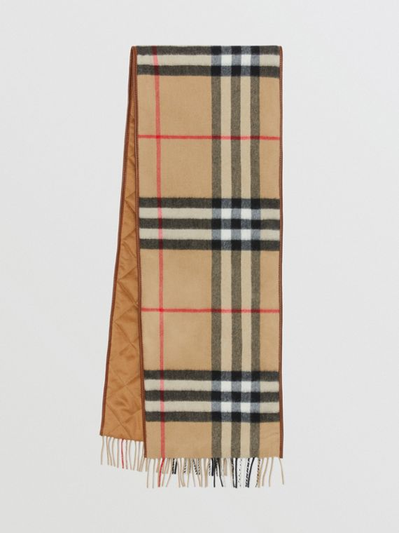 Sciarpa in cashmere con motivo Vintage check e finiture in pelle di agnello (Cammello Scuro)