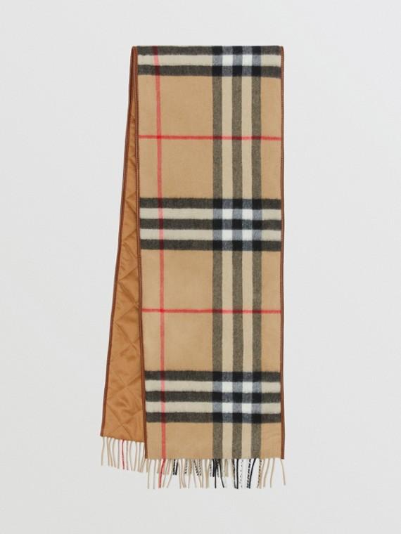 Lambskin Trim Vintage Check Cashmere Scarf in Dark Camel