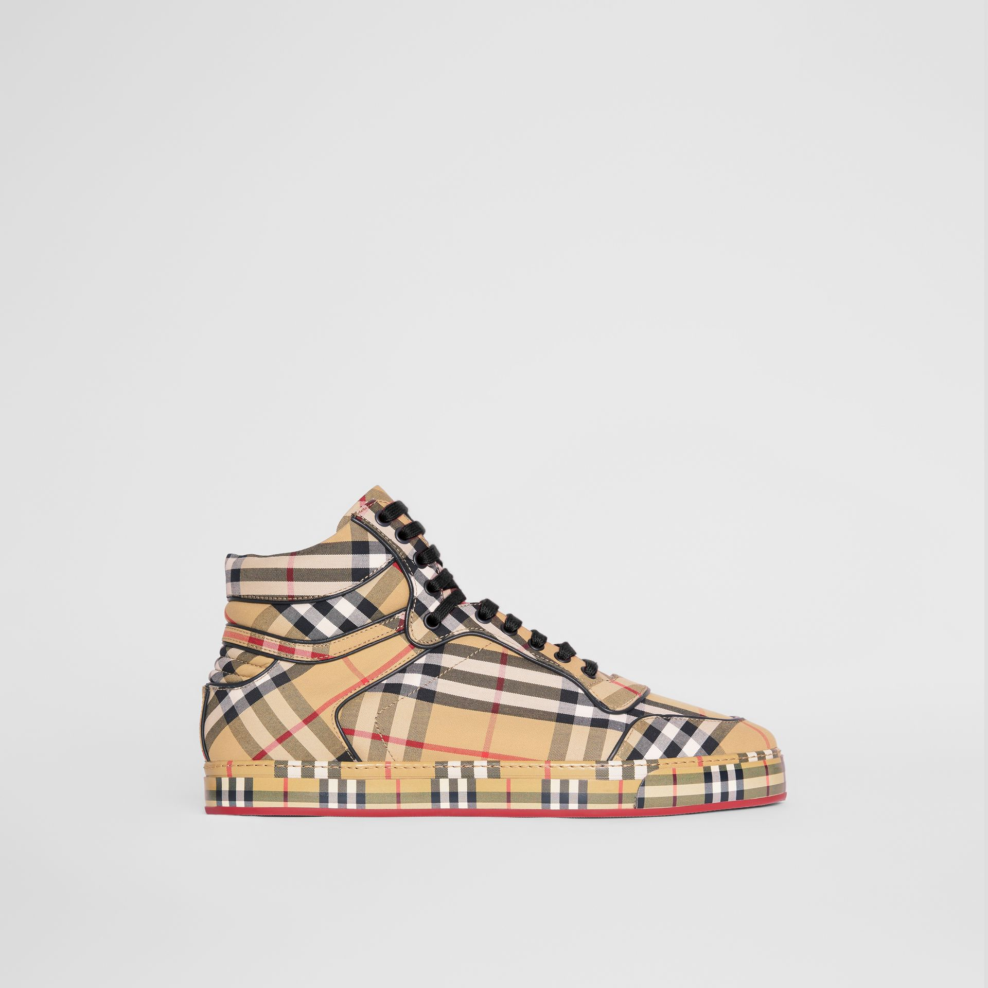 Vintage Check Cotton High-top Sneakers in Antique Yellow - Men | Burberry Singapore - gallery image 5