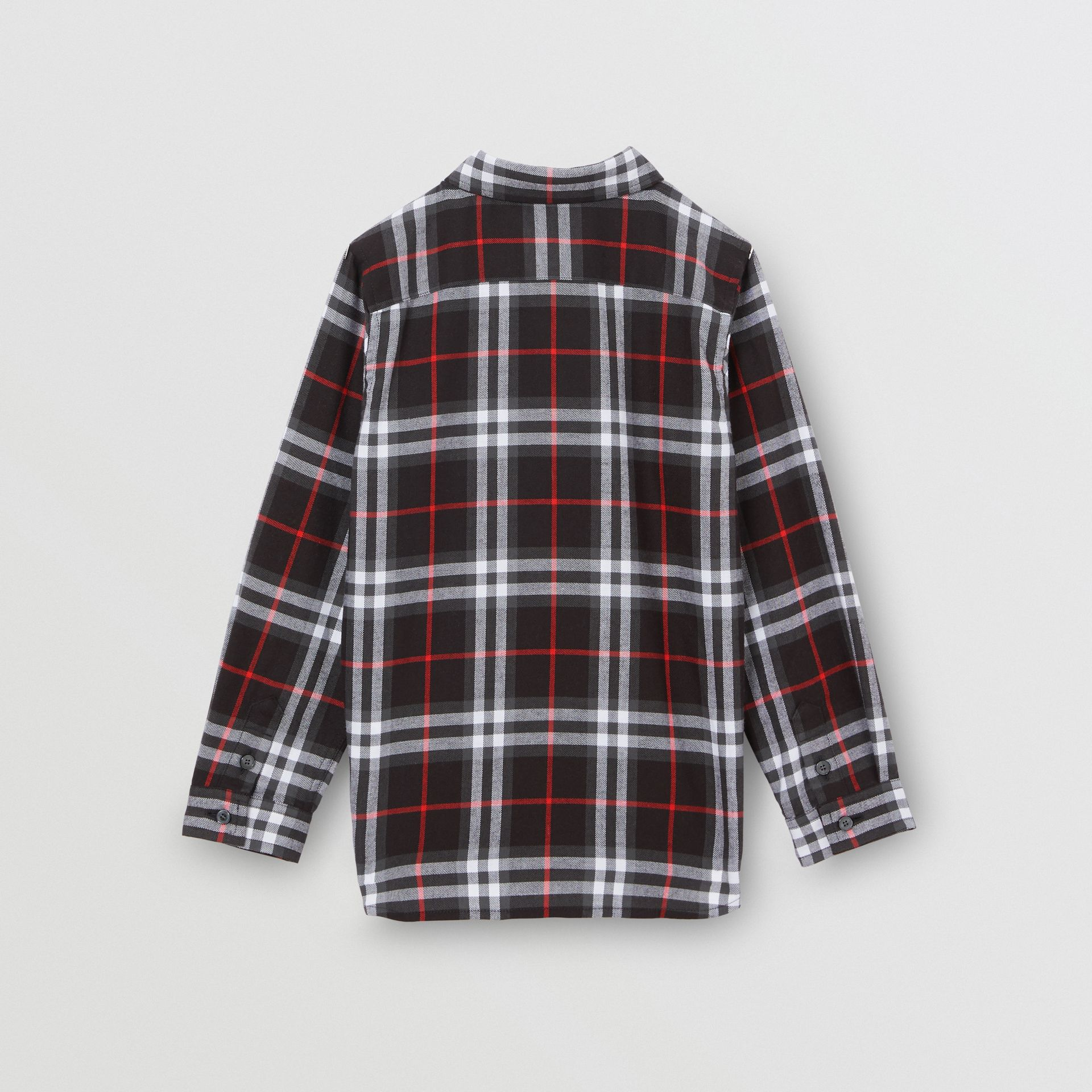 Vintage Check Cotton Flannel Shirt in Black | Burberry - gallery image 3