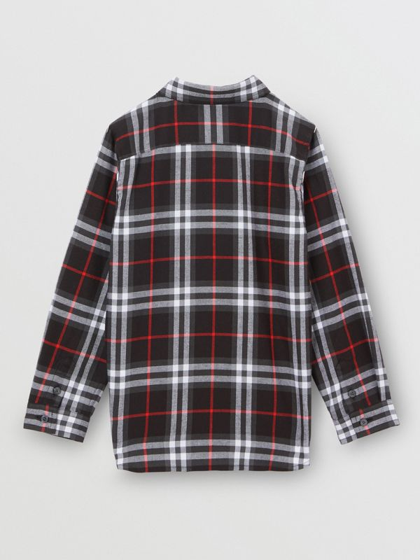Vintage Check Cotton Flannel Shirt in Black | Burberry - cell image 3
