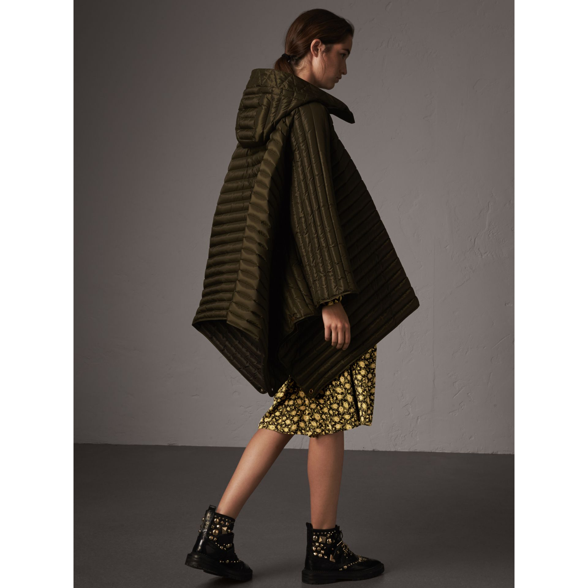 Down-filled Hooded Cape in Olive - Women | Burberry - gallery image 3