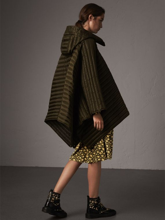 Down-filled Hooded Cape in Olive - Women | Burberry - cell image 2