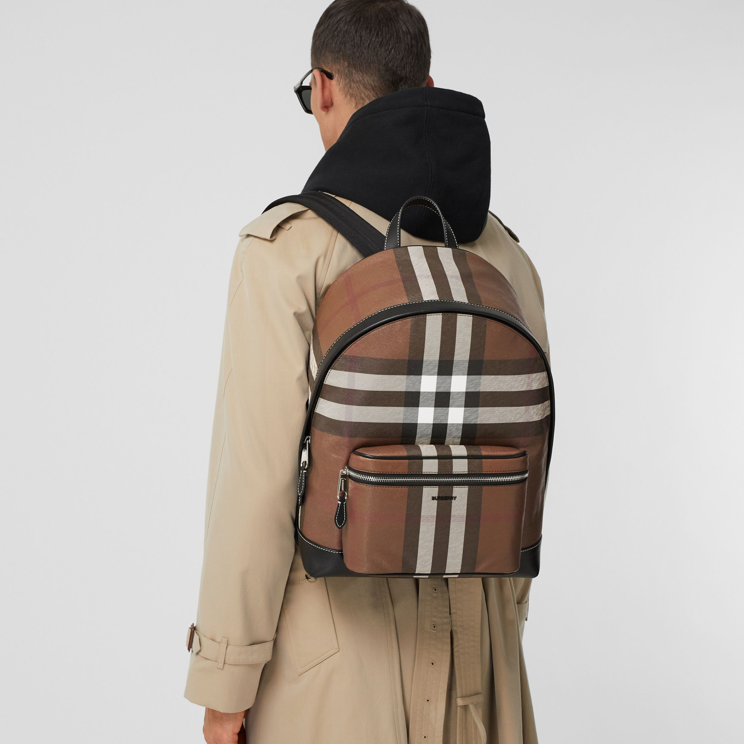Check E-canvas Backpack in Dark Birch Brown - Men | Burberry - 3