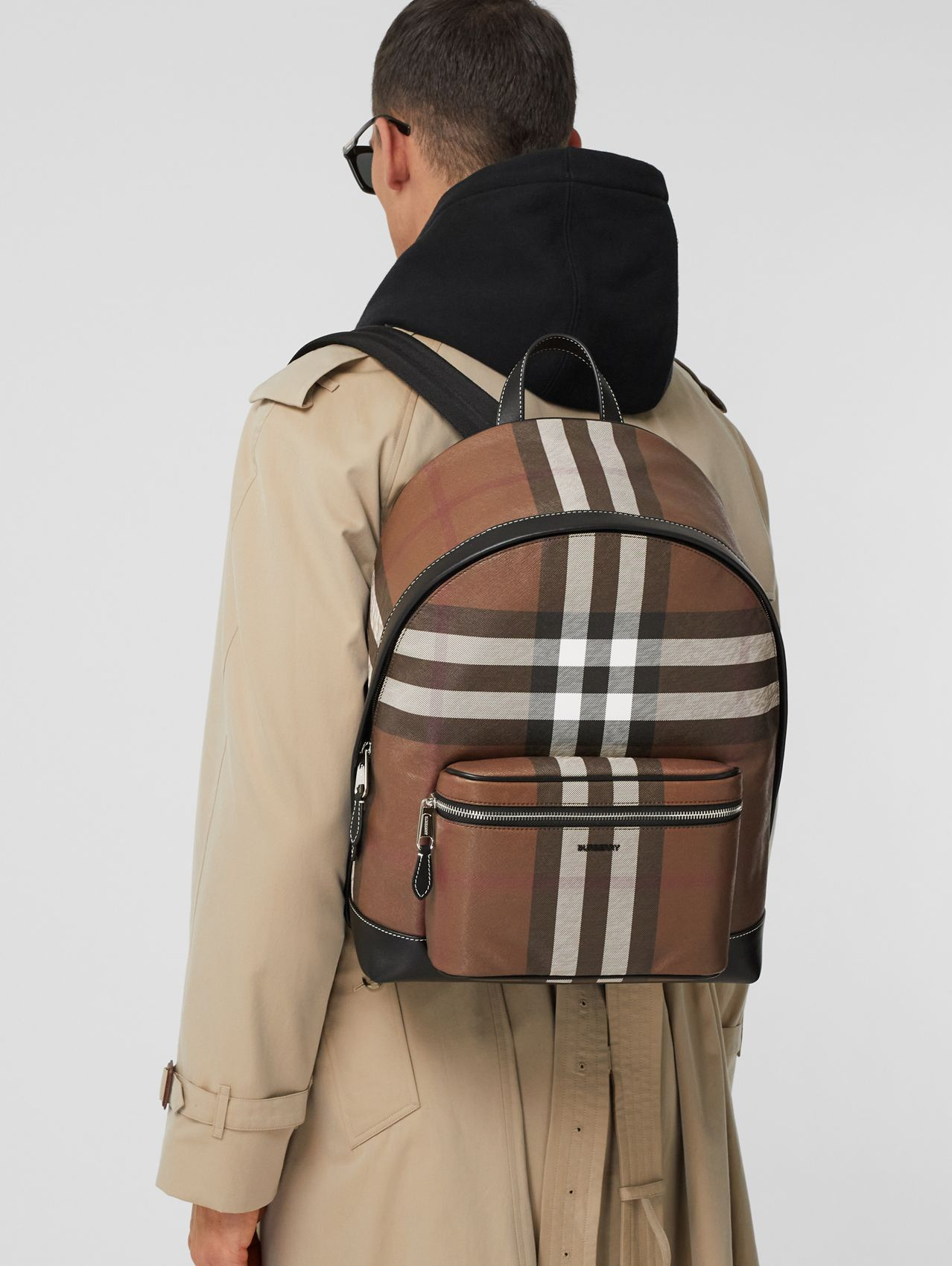 Check E-canvas Backpack in Dark Birch Brown