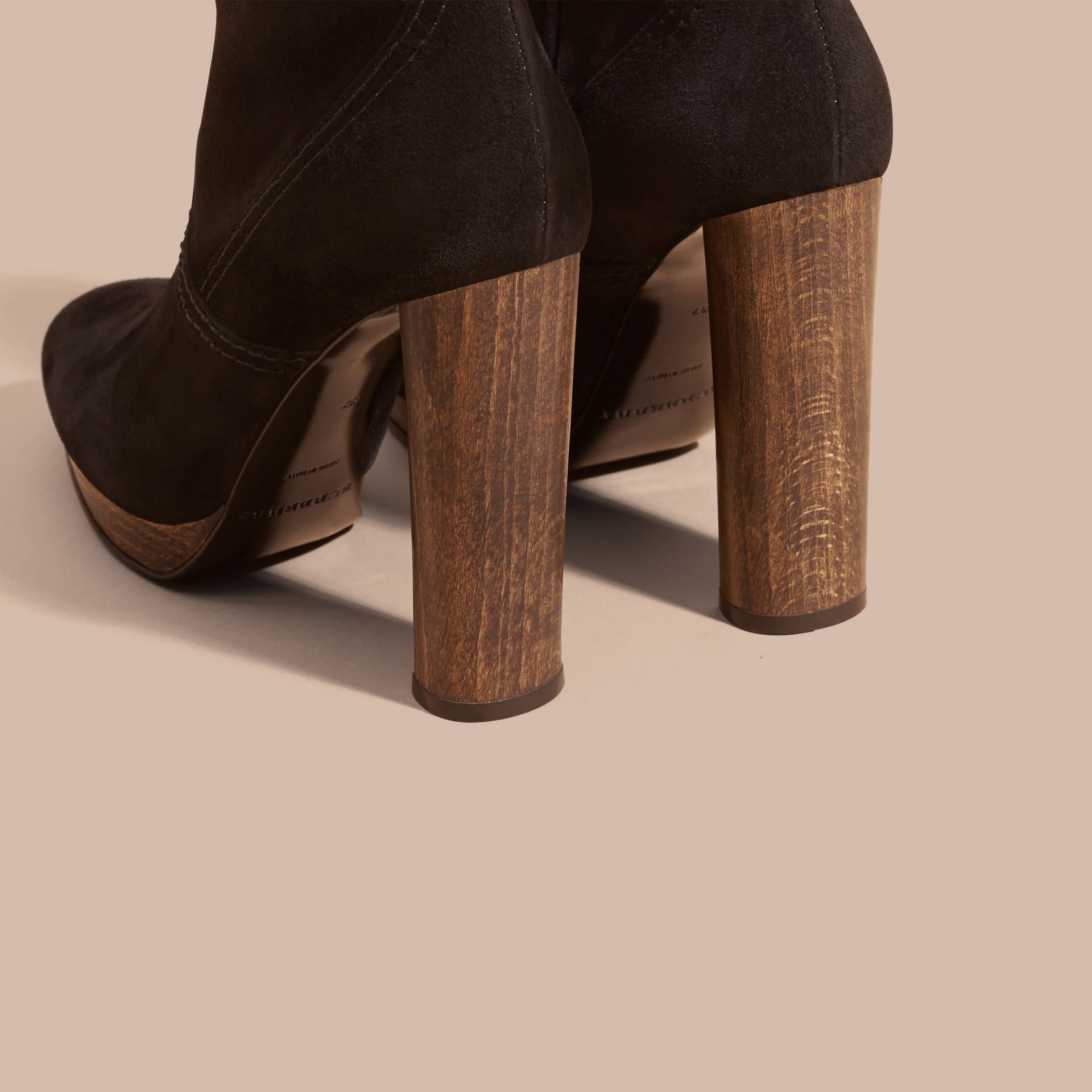 Black Suede Ankle Boots Black - gallery image 4