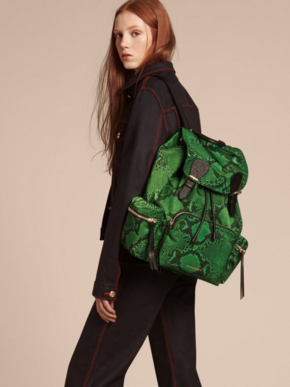 The Large Rucksack in Python Print Nylon and Leather Green - cell image 2