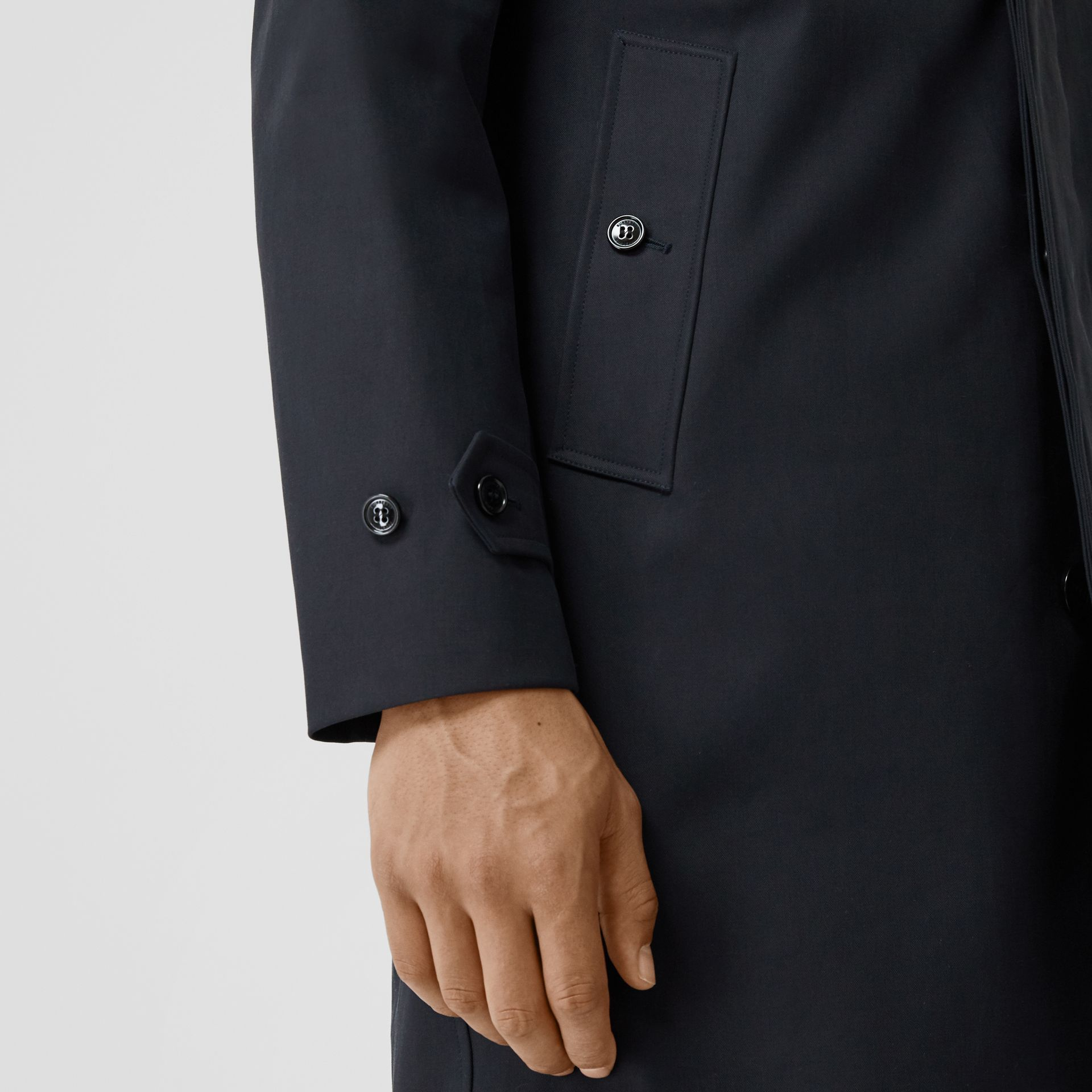 Detachable Striped Collar Cotton Car Coat in Navy - Men | Burberry - gallery image 4