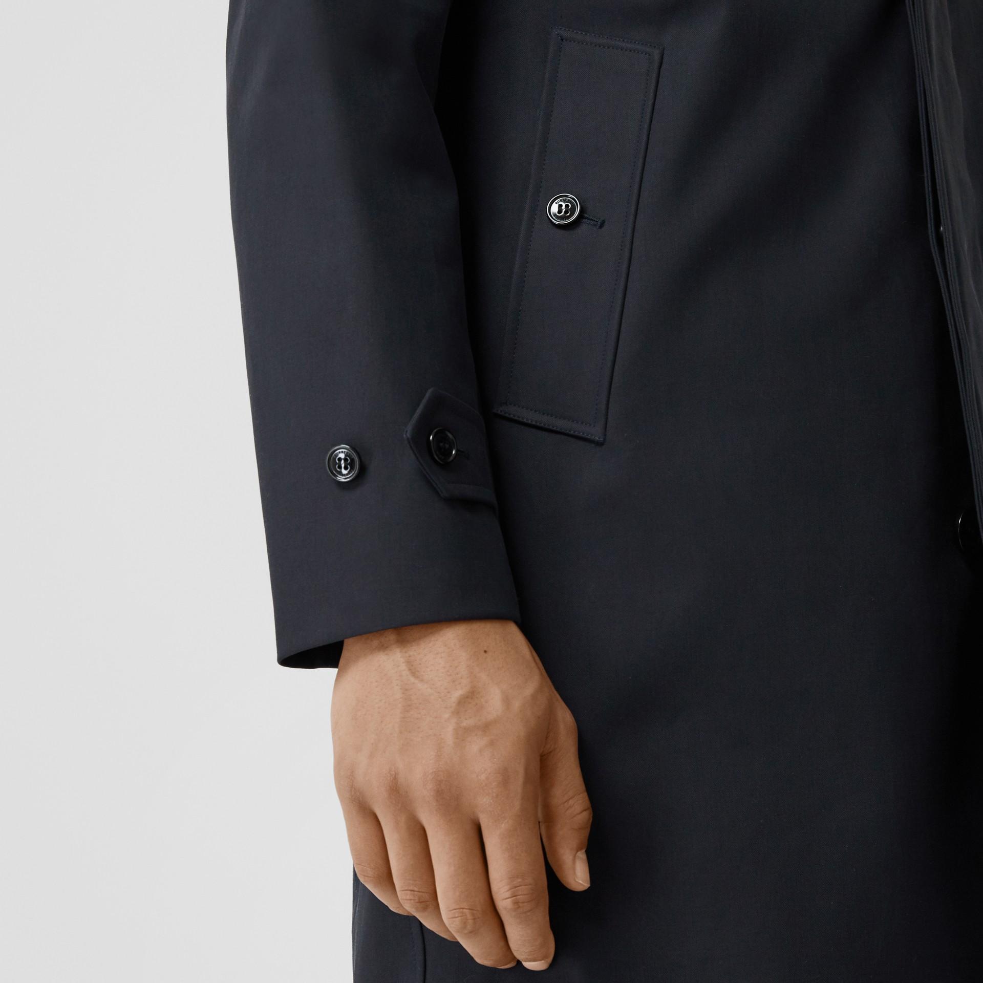Paletot en coton avec col rayé amovible (Marine) - Homme | Burberry Canada - photo de la galerie 4