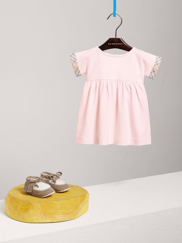 Short-sleeved Cotton Piqué Dress with Check Detail in Powder Pink   Burberry - cell image 2