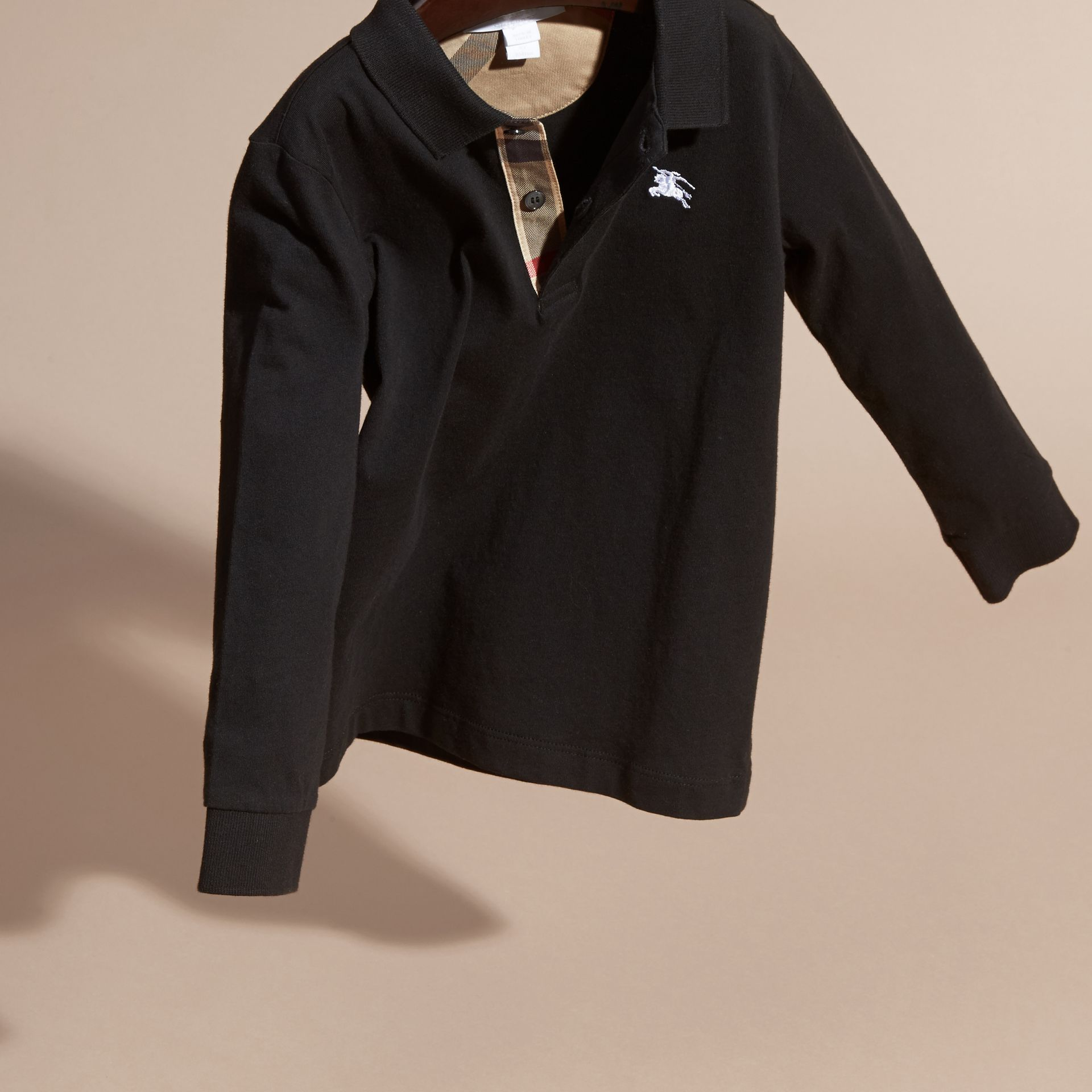 Long-sleeve Cotton Jersey Polo Shirt in Black - Boy | Burberry - gallery image 3