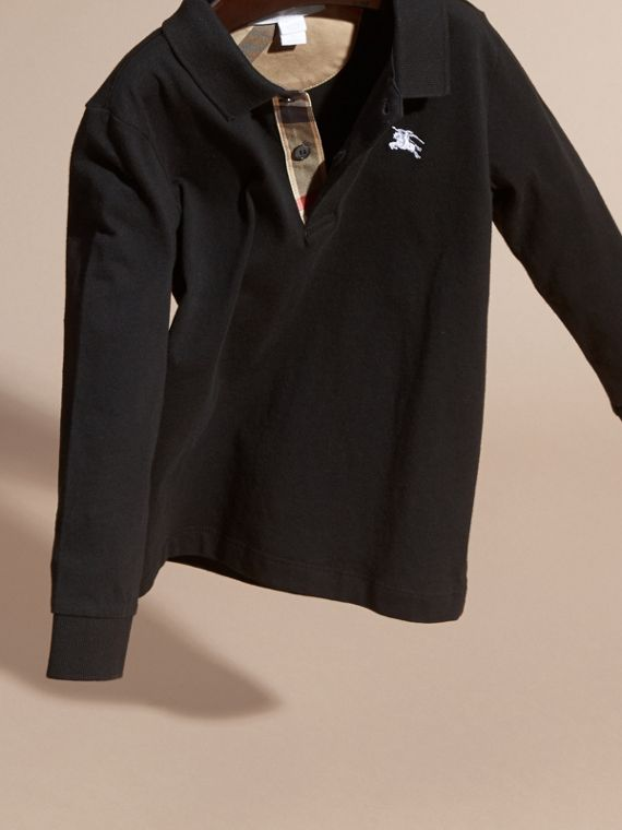 Long-sleeve Cotton Jersey Polo Shirt in Black - Boy | Burberry - cell image 2