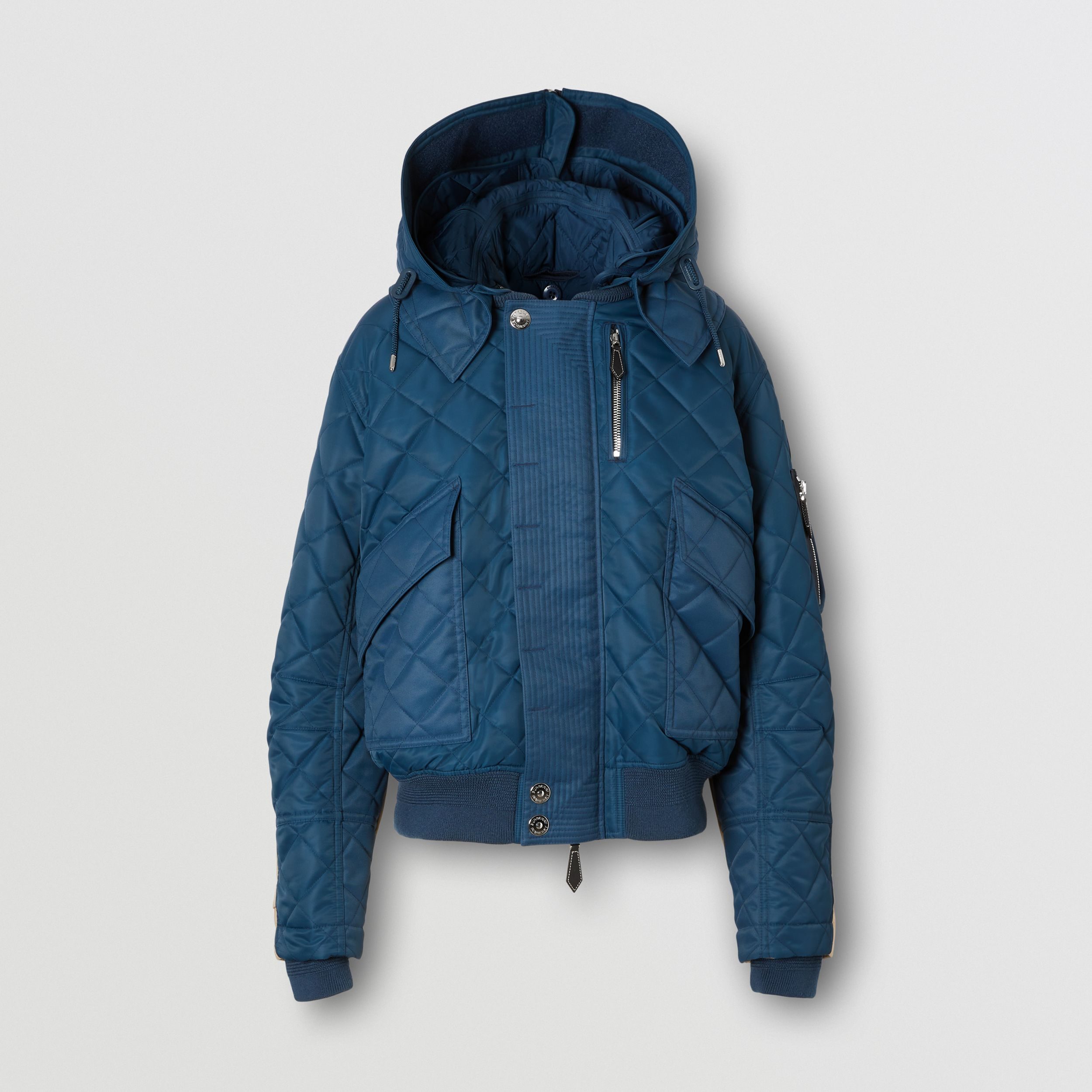 Detachable Hood Quilted Nylon and Cotton Jacket in Dark Carbon Blue | Burberry - 4