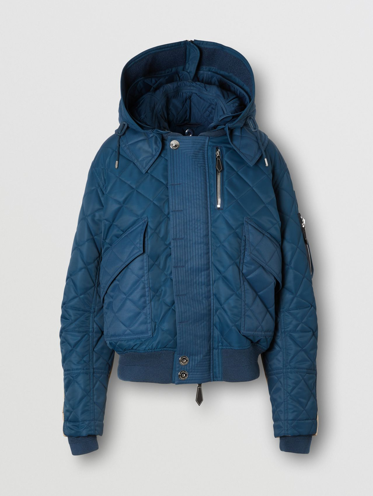 Detachable Hood Quilted Nylon and Cotton Jacket in Dark Carbon Blue