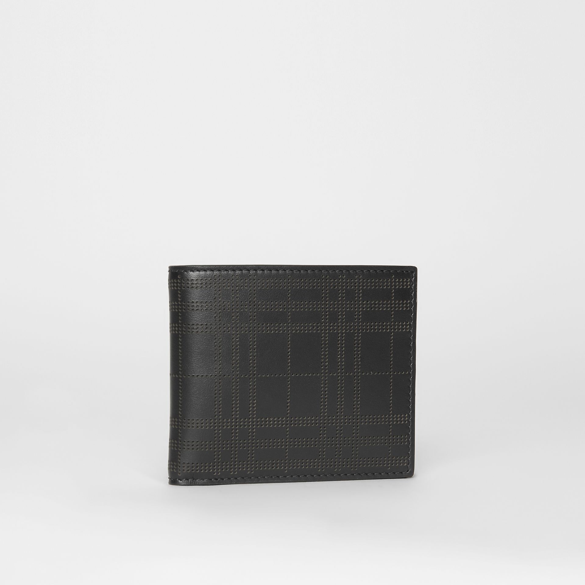 Perforated Check Leather International Bifold Wallet in Black - Men | Burberry Australia - gallery image 3