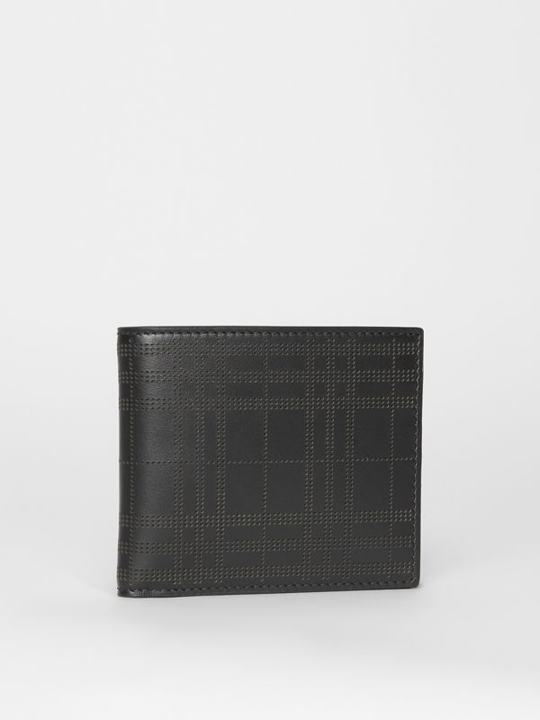 Perforated Check Leather International Bifold Wallet in Black - Men | Burberry Australia - cell image 3