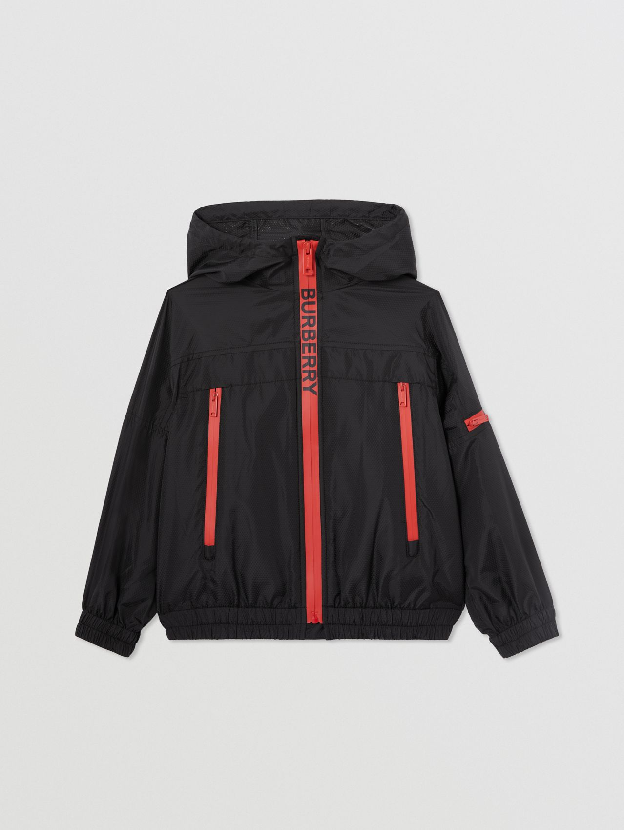 Logo Print Lightweight Hooded Jacket in Black