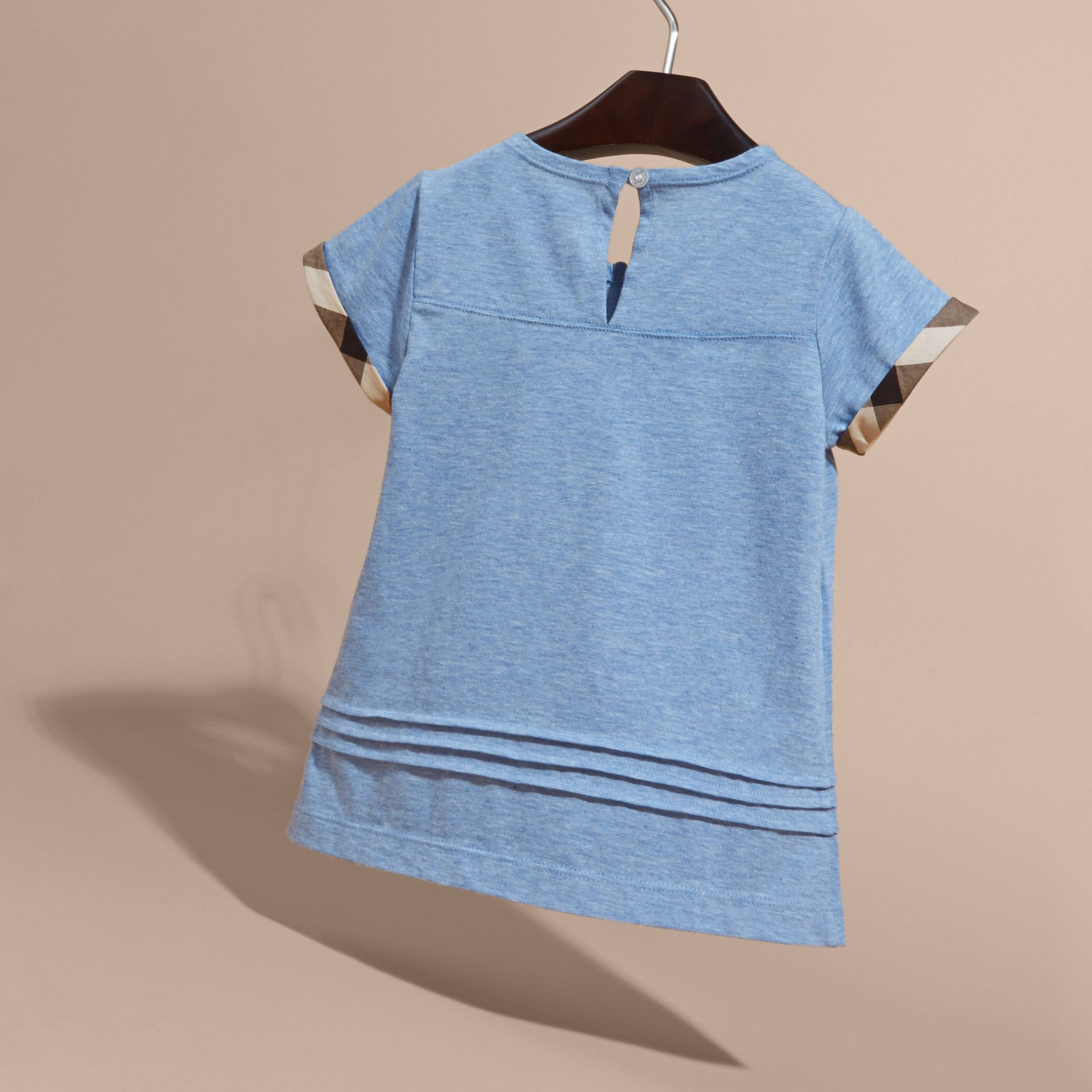 Pleat and Check Detail Cotton T-shirt in Light Blue Melange | Burberry - gallery image 4
