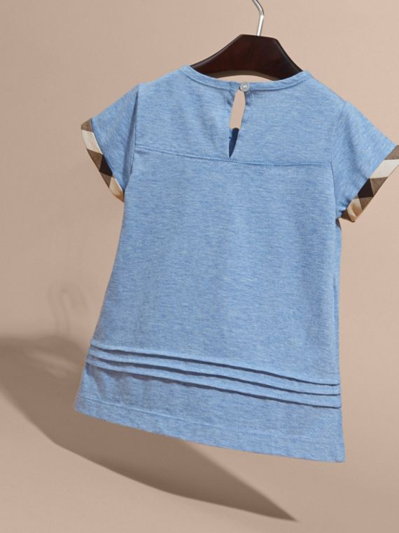 Pleat and Check Detail Cotton T-shirt in Light Blue Melange | Burberry - cell image 3