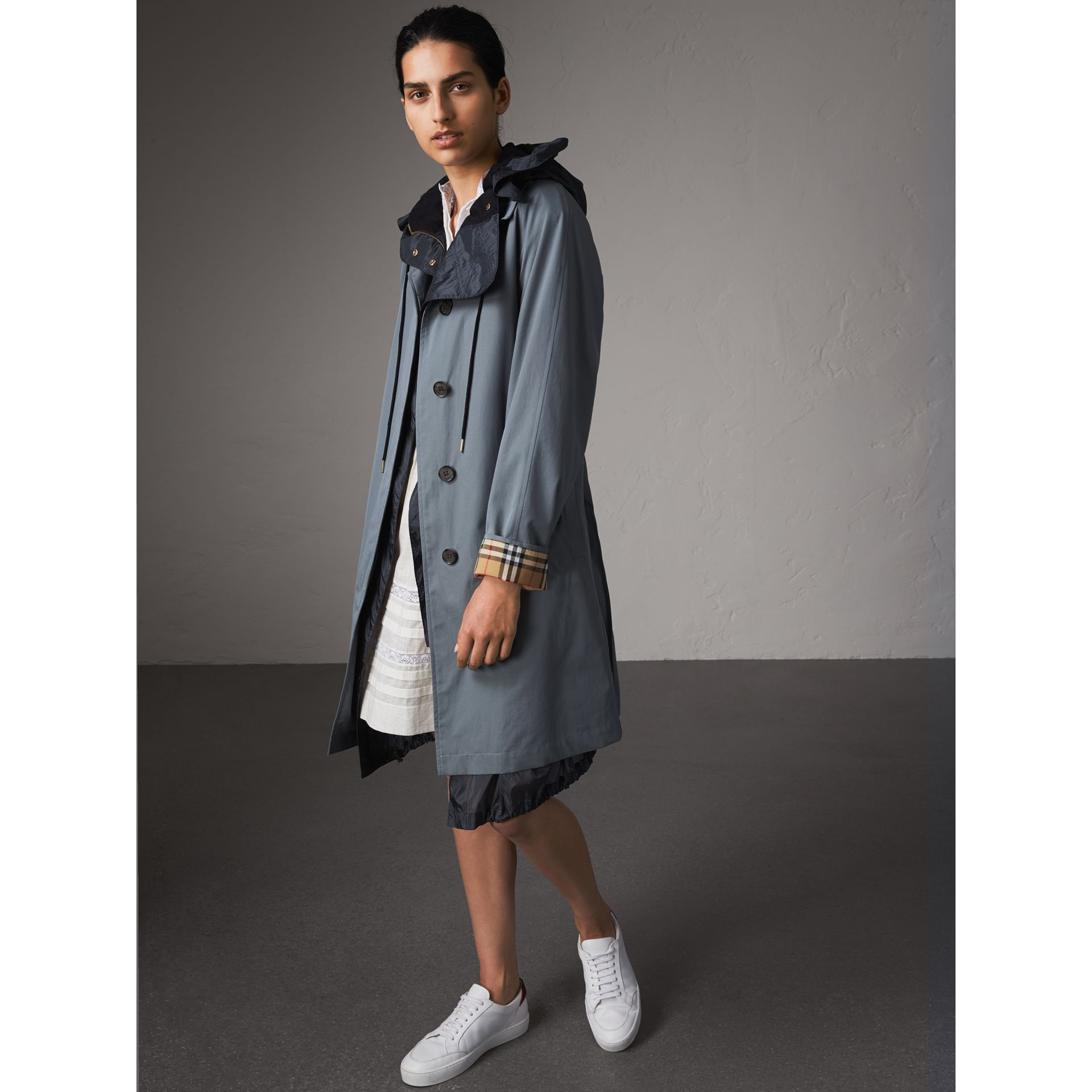 The Camden – Long Car Coat in Dusty Blue - Women | Burberry - gallery image 6