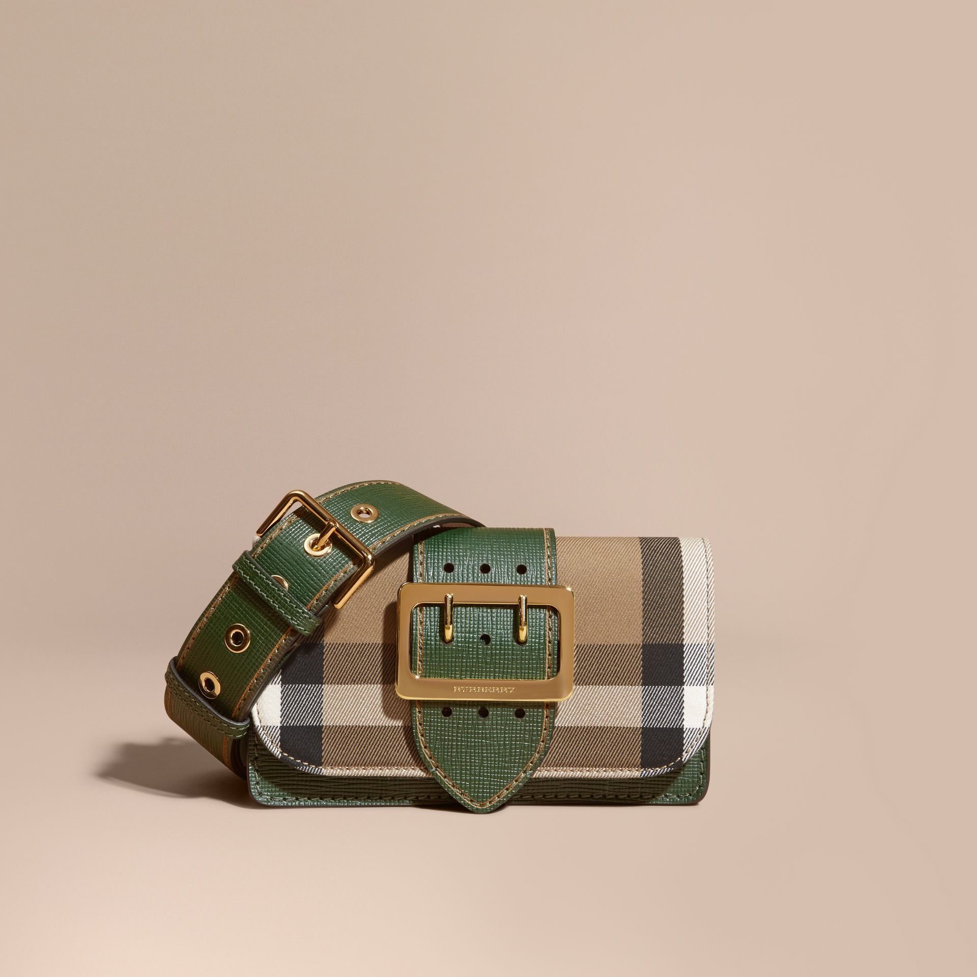 The Small Buckle Bag in House Check and Leather in Kelly Green/kelly Green - Women | Burberry Canada - gallery image 0