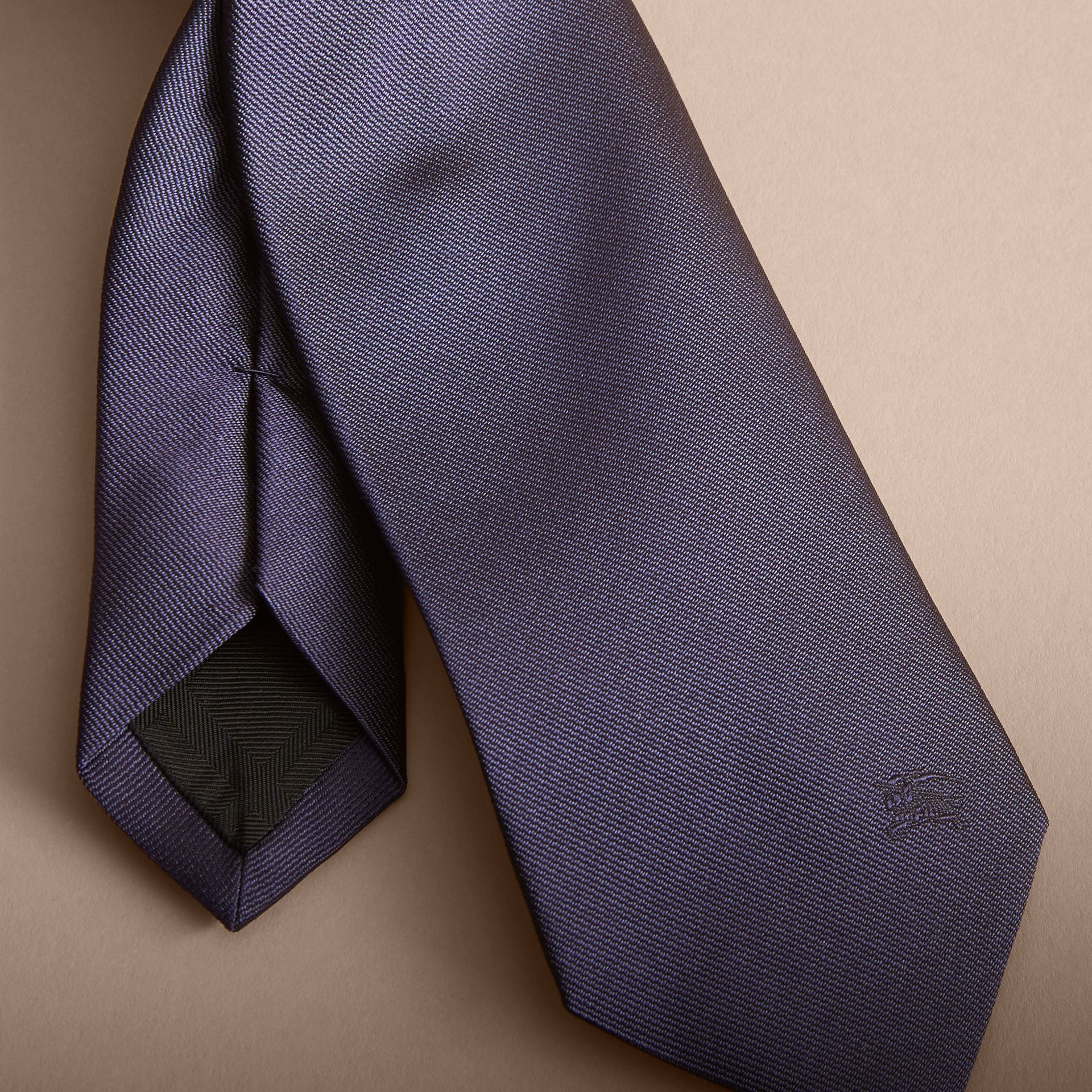 Navy Modern Cut Silk Twill Tie Navy - gallery image 2
