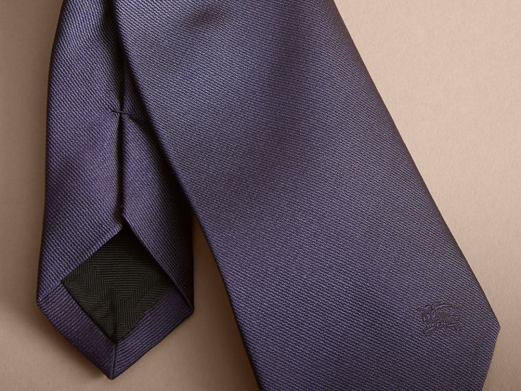 Modern Cut Silk Twill Tie in Navy - cell image 1