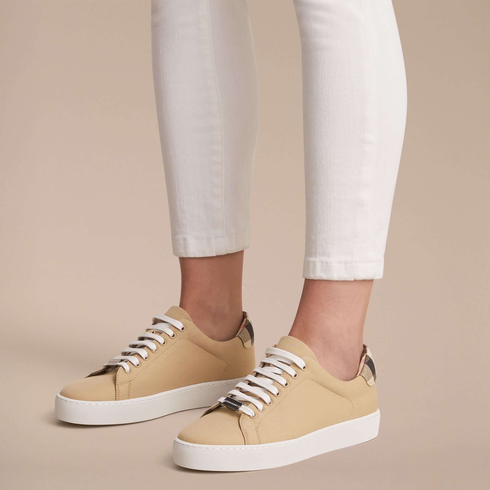 Check Detail Cotton Trainers in Honey - Women | Burberry - gallery image 6