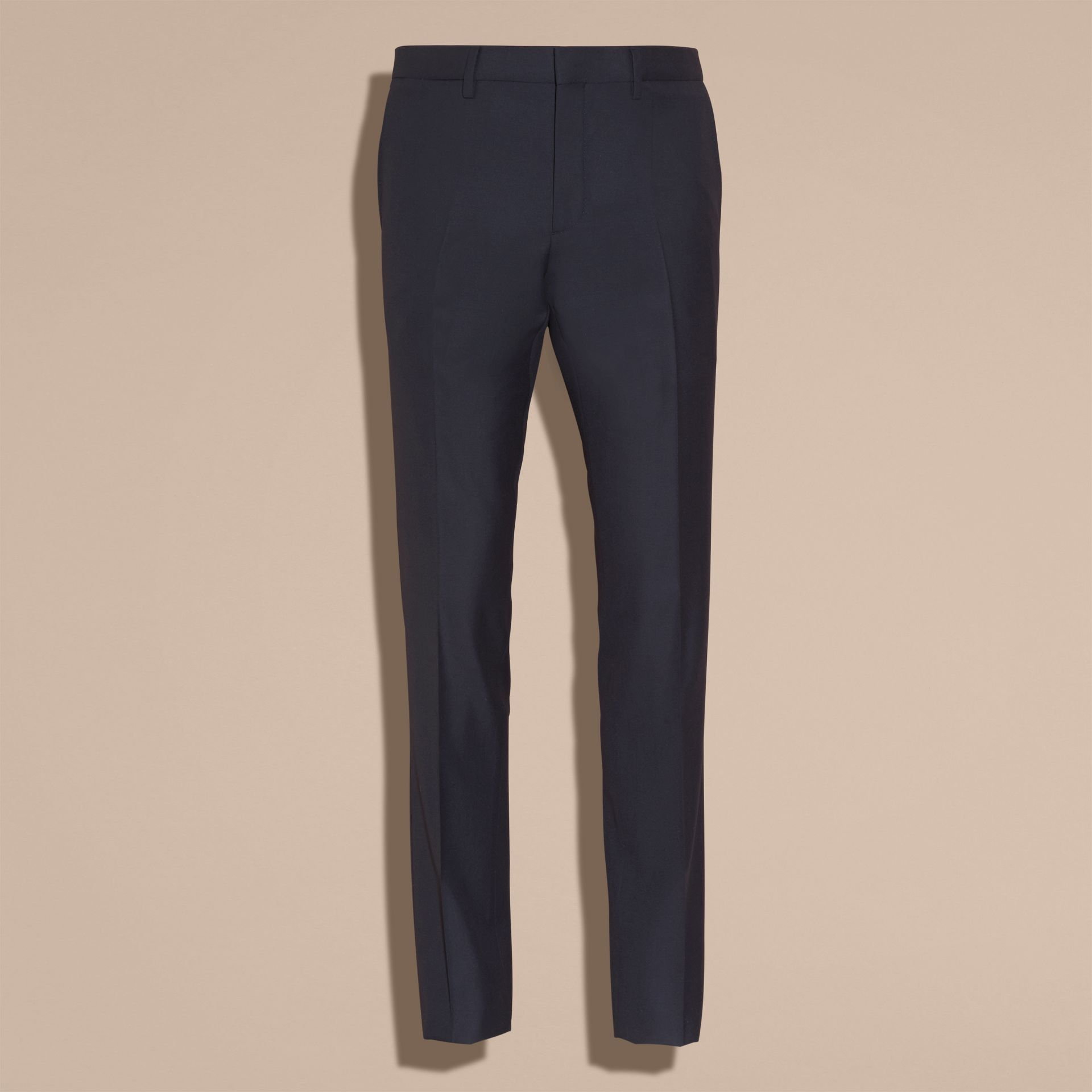 Slim Fit Wool Trousers in Navy - Men | Burberry - gallery image 3