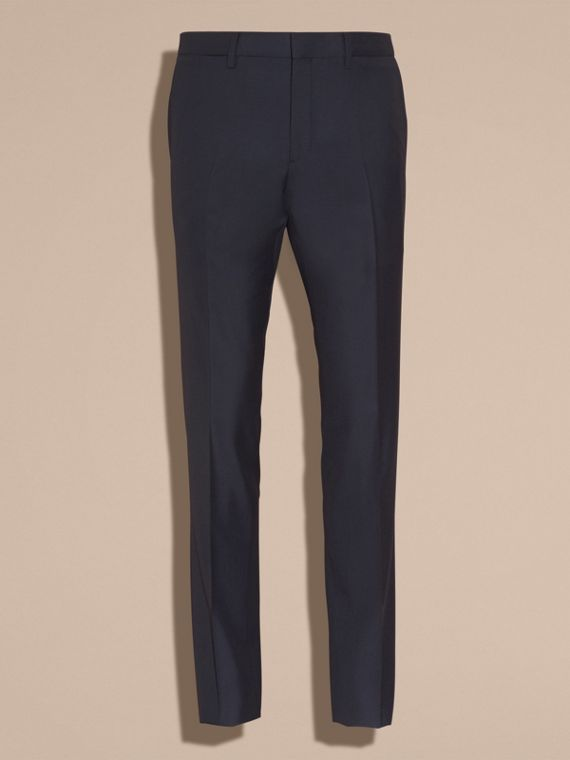 Slim Fit Wool Trousers in Navy - Men | Burberry Australia - cell image 3