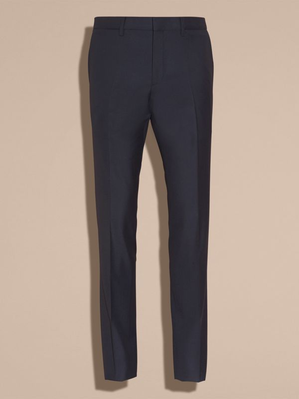 Slim Fit Wool Trousers in Navy - Men | Burberry - cell image 3
