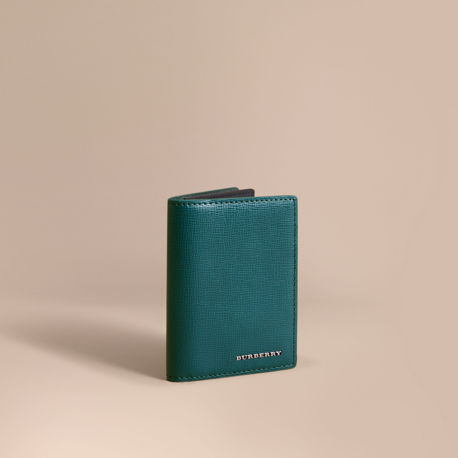 London Leather Folding Card Case in Dark Teal | Burberry - gallery image 1