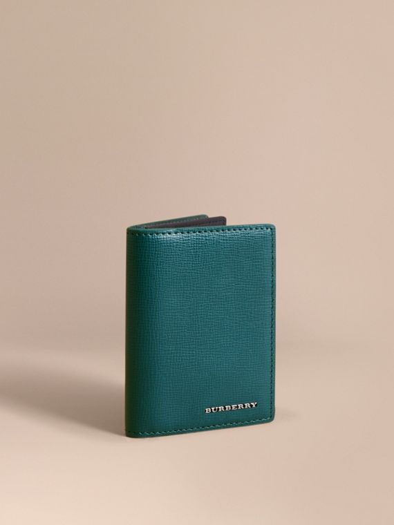 London Leather Folding Card Case in Dark Teal | Burberry